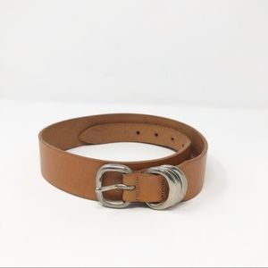 Tan leather waist belt antique silver hardware S